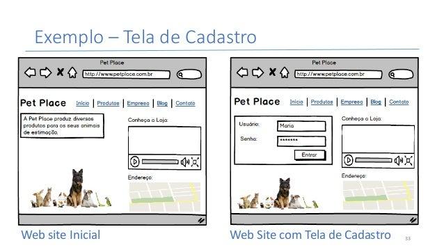 Exemplo– TeladeCadastro WebsiteInicial WebSitecomTeladeCadastro 33
