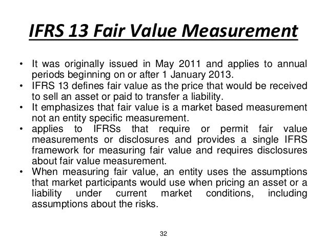 ifrs fair value measure The accounting standard ifrs 13 'fair value measurement' was published in  may 2011 it represents the outcome of six years of iasb discussions, largely.