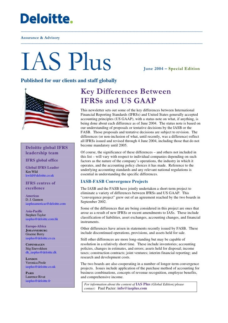 a comparison of the international financial reporting standards ifrs and the united states generally