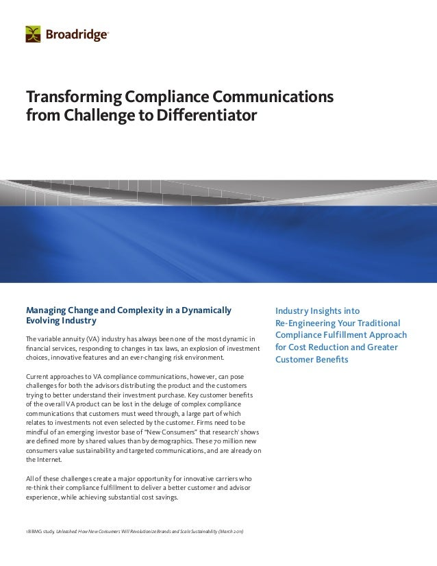 Industry Insights into Re-Engineering Your Traditional Compliance Fulfillment Approach for Cost Reduction and Greater Cust...