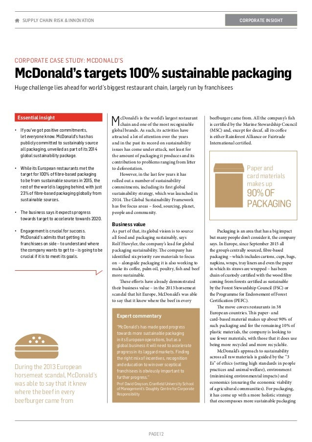 PAGE 12 Essential insight •	 If you've got positive commitments, let everyone know. McDonald's has has publicly committed ...