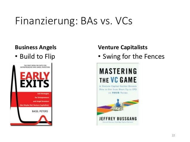 Finanzierung: BAs vs. VCs  Business Angels  • Build to Flip  Venture Capitalists  • Swing for the Fences  22