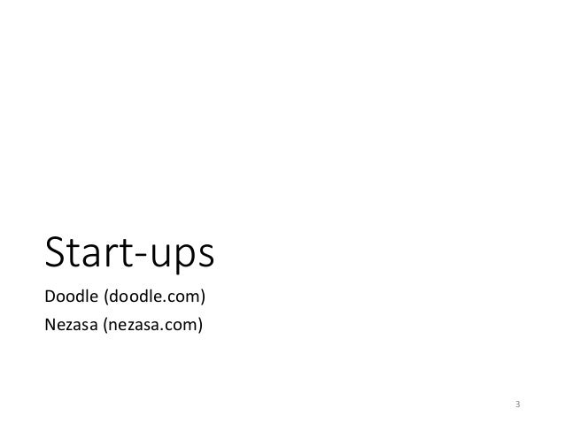 Start-ups  Doodle (doodle.com)  Nezasa (nezasa.com)  3