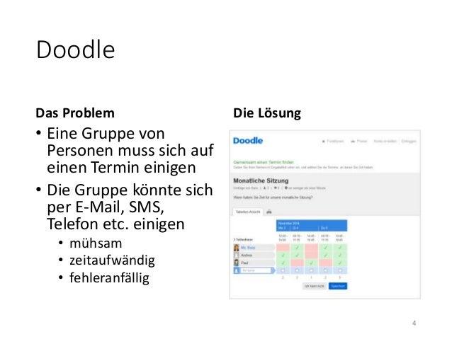 Doodle  Das Problem  • Eine Gruppe von  Personen muss sich auf  einen Termin einigen  • Die Gruppe könnte sich  per E-Mail...