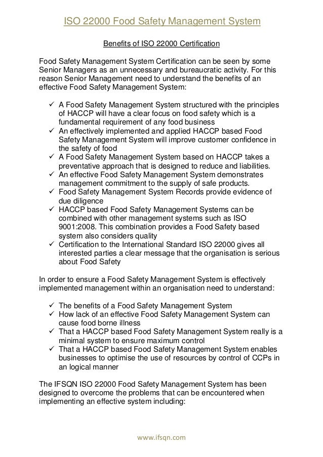food safety management report Health and safety in the food and beverage industry  the food production chain has three stages  all of which can be controlled by management and.
