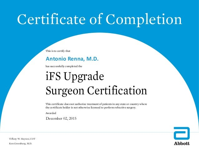 Ifs Upgrade Surgeon Certification