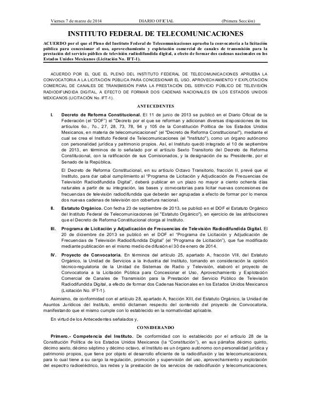 Viernes 7 de marzo de 2014  DIARIO OFICIAL  (Primera Sección)  INSTITUTO FEDERAL DE TELECOMUNICACIONES ACUERDO por el que ...
