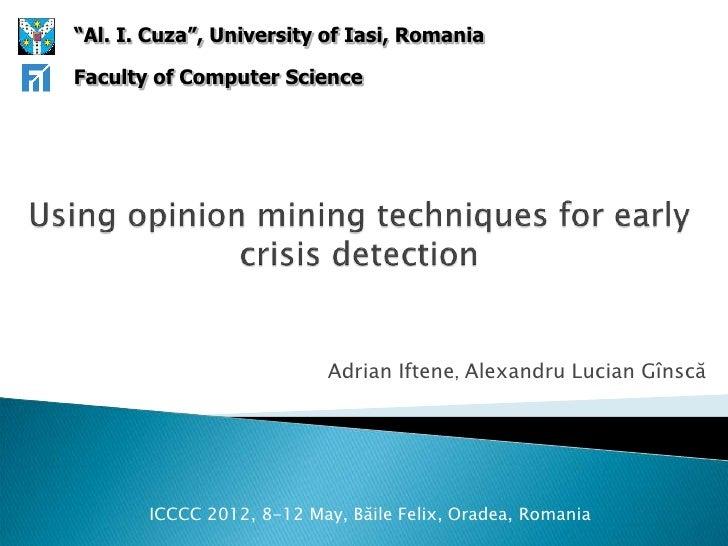"""Al. I. Cuza"", University of Iasi, RomaniaFaculty of Computer Science                           Adrian Iftene, Alexandru L..."