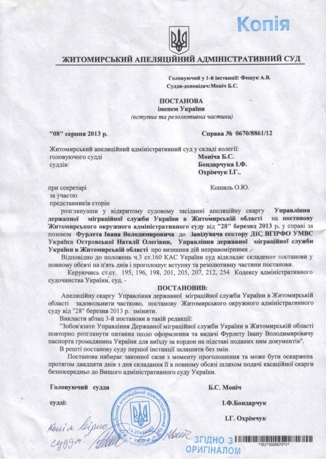 Паспорт за 170. Постанова Апеляційного суду