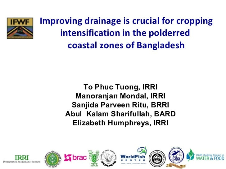 Improving drainage is crucial for cropping intensification in the polderred  coastal zones of Bangladesh To Phuc Tuong, IR...