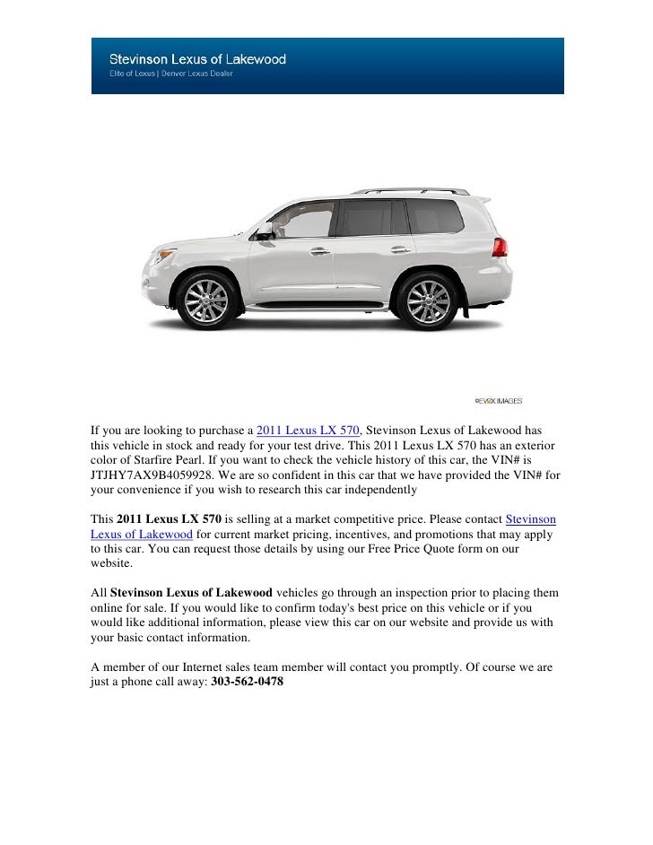 If you are looking to purchase a 2011 Lexus LX 570, Stevinson Lexus of Lakewood hasthis vehicle in stock and ready for you...