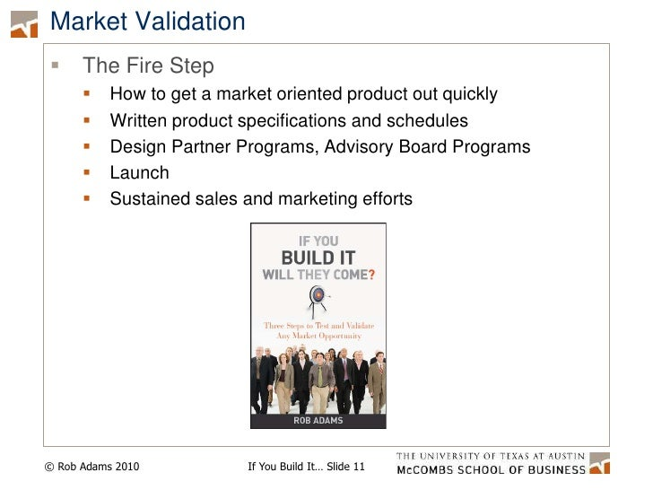Market Validation<br />The Fire Step<br />How to get a market oriented product out quickly<br />Written product specificat...