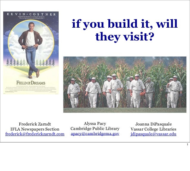 if you build it, will they visit? Frederick Zarndt IFLA Newspapers Section frederick@frederickzarndt.com Alyssa Pacy Cambr...