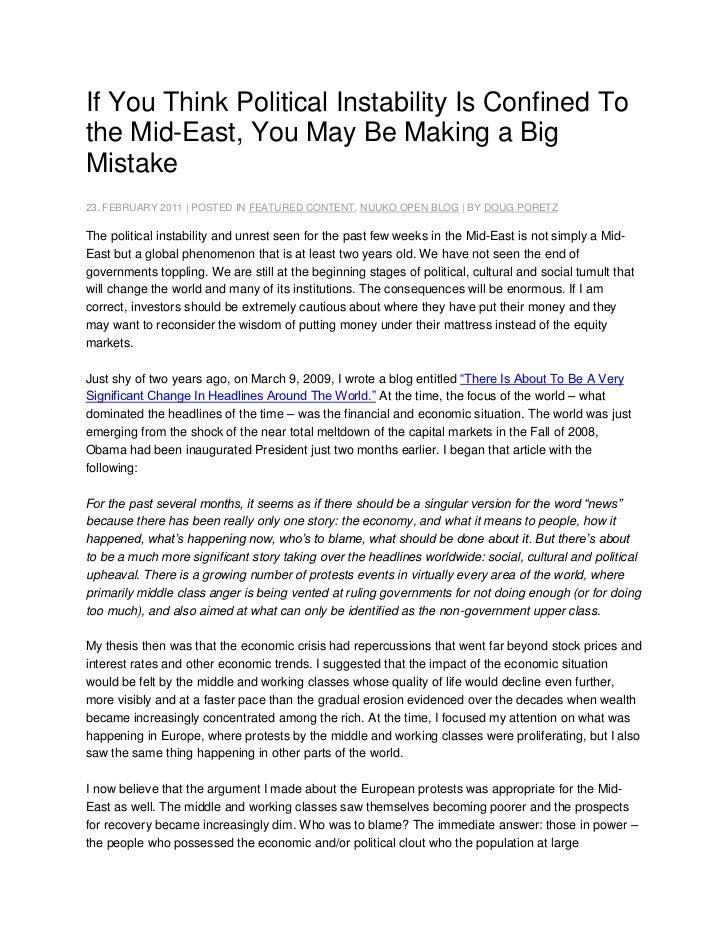 If You Think Political Instability Is Confined To the Mid-East, You May Be Making a Big Mistake<br />23. FEBRUARY 2011 | P...