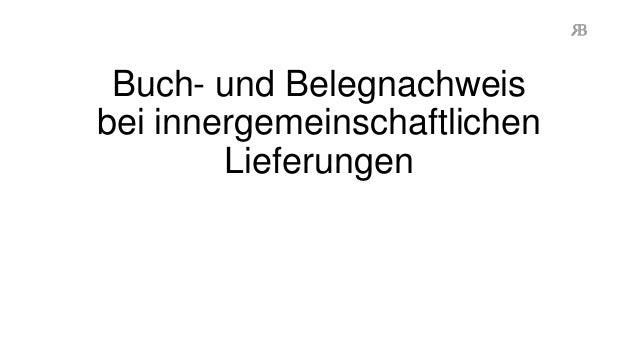 Buch- und Belegnachweis bei innergemeinschaftlichen Lieferungen