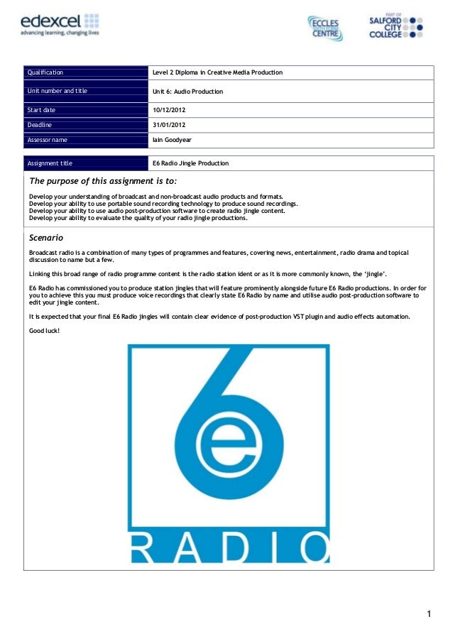 Qualification                                 Level 2 Diploma in Creative Media ProductionUnit number and title           ...