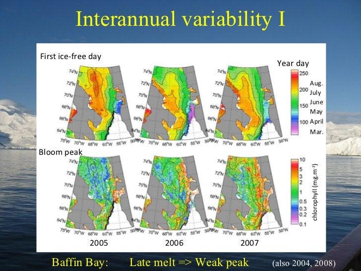Interannual variability I Year day chlorophyll (mg.m -3 ) First ice-free day Bloom peak Baffin Bay:  Late melt => Weak pea...