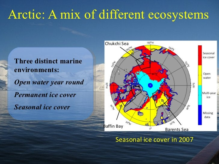Arctic: A mix of different ecosystems Three distinct marine environments: Open water year round Permanent ice cover Season...
