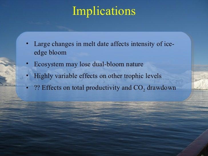 Implications <ul><li>Large changes in melt date affects intensity of ice-edge bloom </li></ul><ul><li>Ecosystem may lose d...