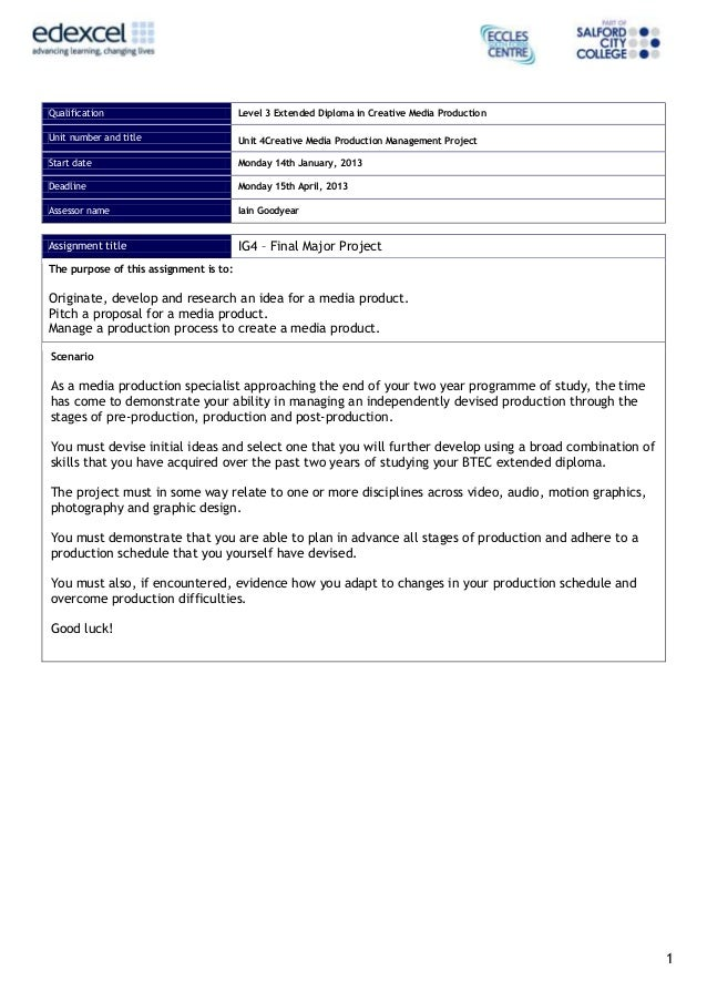 Qualification                           Level 3 Extended Diploma in Creative Media ProductionUnit number and title        ...