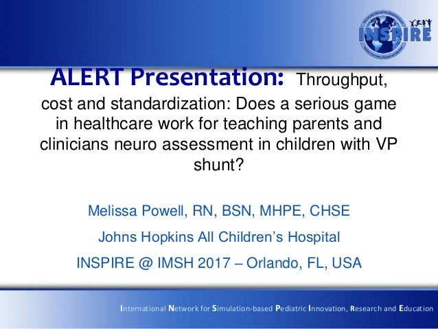 ALERT Presentation: Throughput, cost and standardization: Does a serious game in healthcare work for teaching parents and ...