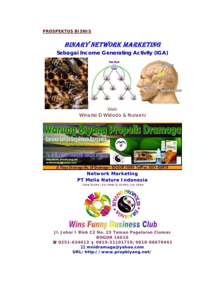 PROSPEKTUS BISNIS          BINARY NETWORK MARKETING     Sebagai Income Generating Activity (IGA)                          ...