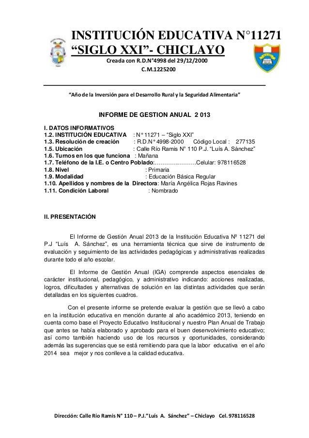 """INSTITUCIÓN EDUCATIVA N°11271 """"SIGLO XXI""""- CHICLAYO Creada con R.D.N°4998 del 29/12/2000 C.M.1225200  c..-  """"Año de la Inv..."""