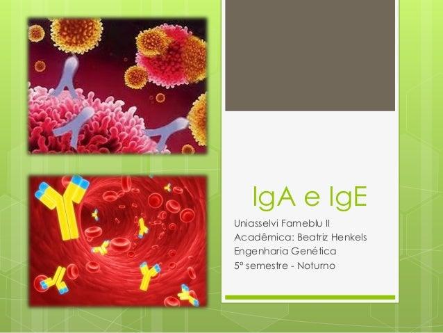 IgA e IgE Uniasselvi Fameblu II Acadêmica: Beatriz Henkels Engenharia Genética 5° semestre - Noturno