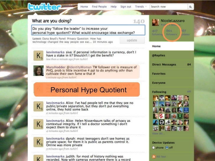 """Do you play """"follow the leader"""" to increase your  personal hype quotient? What would encourage idea exchange? Personal Hyp..."""
