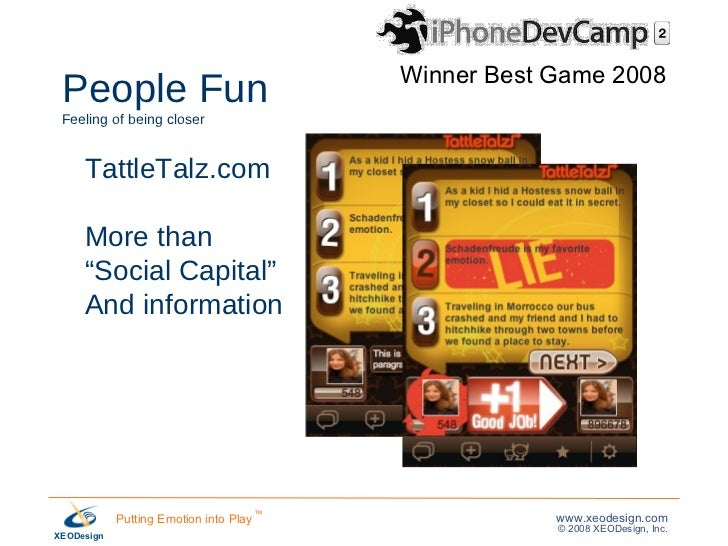 """People Fun   Feeling of being closer TattleTalz.com More than """" Social Capital"""" And information Winner Best Game 2008"""