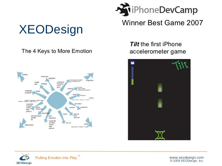 XEODesign The 4 Keys to More Emotion Winner Best Game 2007 Tilt  the first iPhone  accelerometer game