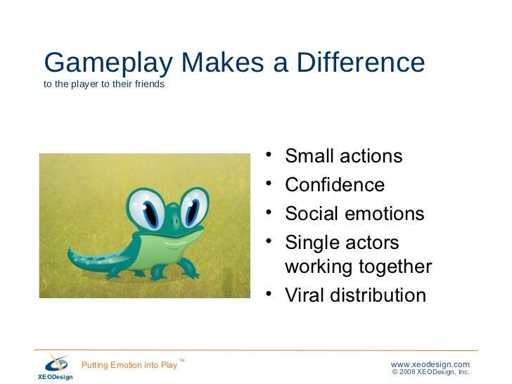 Gameplay Makes a Difference to the player to their friends <ul><li>Small actions </li></ul><ul><li>Confidence </li></ul><u...