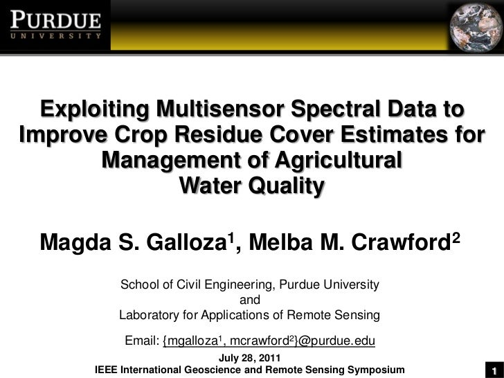 Exploiting Multisensor Spectral Data to Improve Crop Residue Cover Estimates for Management of Agricultural <br />Water Qu...