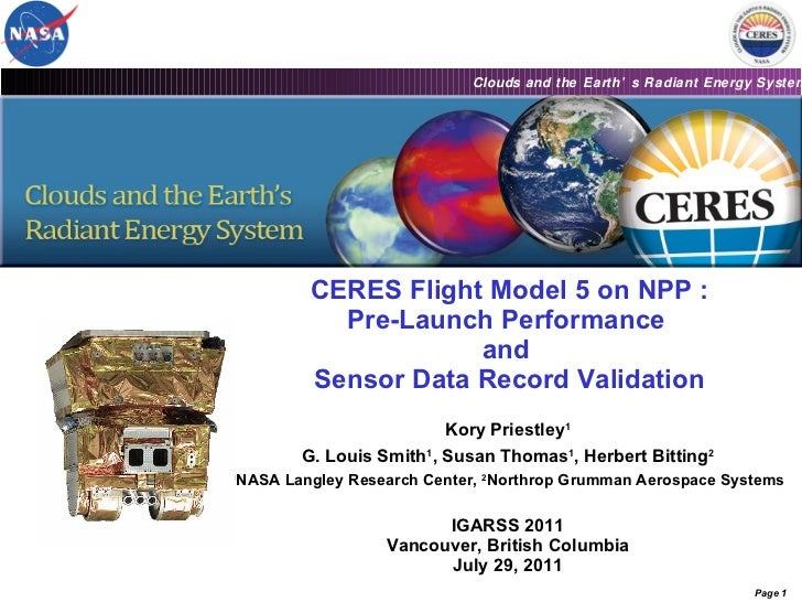 CERES Flight Model 5 on NPP : Pre-Launch Performance  and  Sensor Data Record Validation Kory Priestley 1 G. Louis Smith 1...