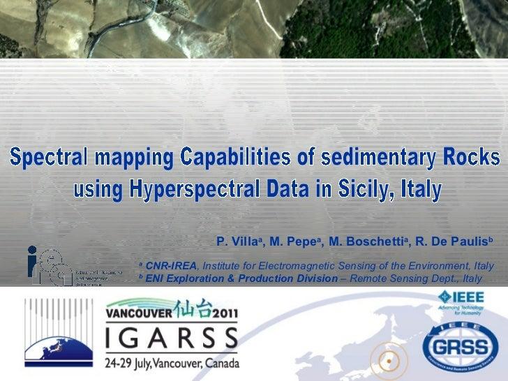 P. Villa a , M. Pepe a , M. Boschetti a , R. De Paulis b a  CNR-IREA ,   Institute for Electromagnetic Sensing of the Envi...