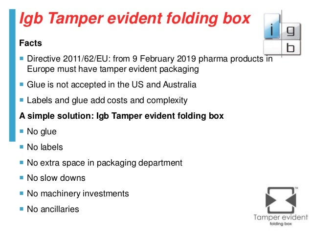 Igb Tamper Evident Child Resistant Packaging 2017