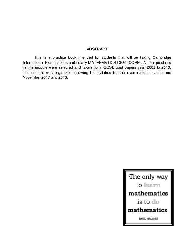 IGCSE MATH CORE Classified Past Paper