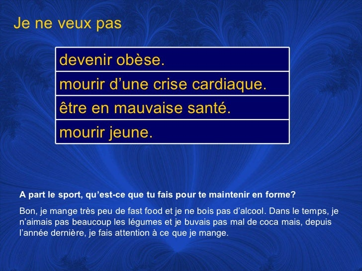 french fit and healthy coursework French minors are strongly encouraged to participate in study abroad with courses in emergency health care, fundamentals of fitness and conditioning coursework includes community health.
