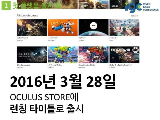 1 첫 플랫폼 출시 후 2016년 3월 28일 OCULUS STORE에 런칭 타이틀로 출시