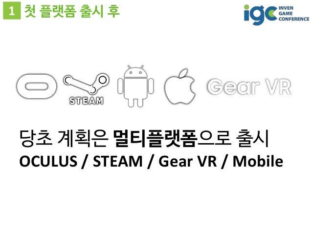 1 첫 플랫폼 출시 후 당초 계획은 멀티플랫폼으로 출시 OCULUS / STEAM / Gear VR / Mobile