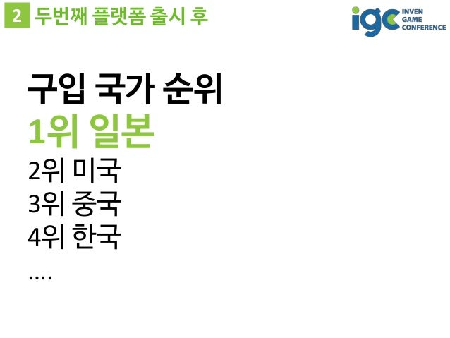 2 두번째 플랫폼 출시 후 구입 국가 순위 1위 일본 2위 미국 3위 중국 4위 한국 ….