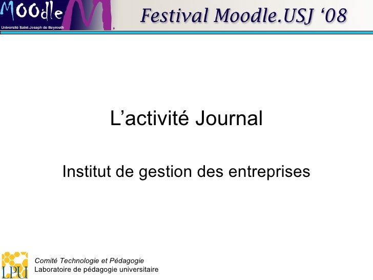 L'activité Journal Institut de gestion des entreprises