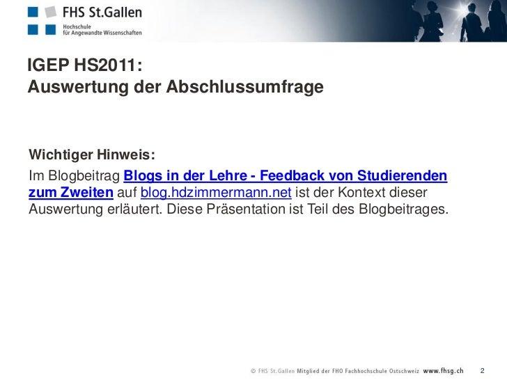 IGEP HS2011: Auswertung der Abschlussumfrage  Slide 2