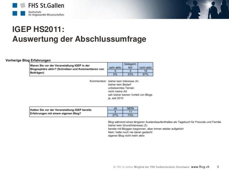 IGEP HS2011: Auswertung der Abschlussumfrage  Slide 3