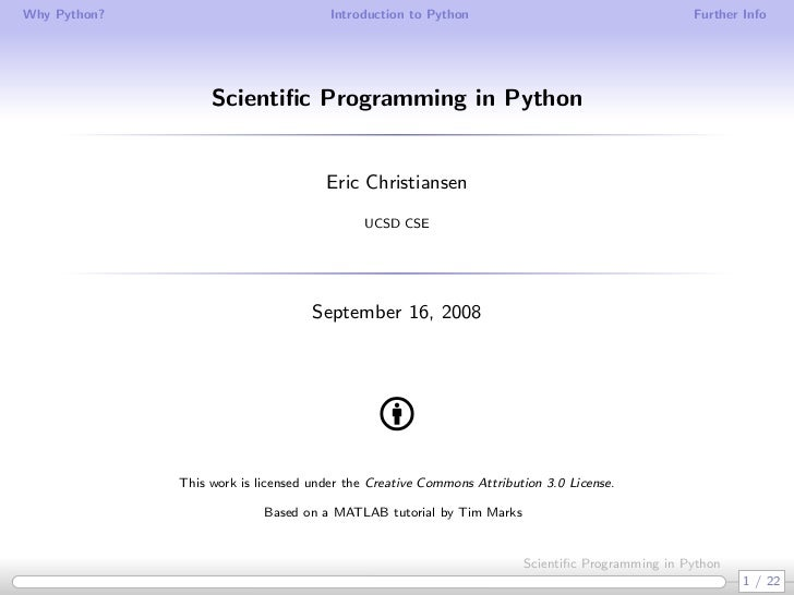 Why Python?                            Introduction to Python                                    Further Info             ...