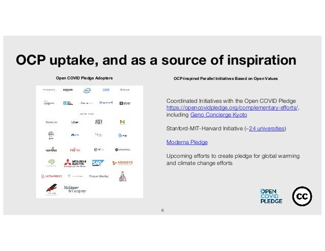 6 OCP uptake, and as a source of inspiration Coordinated Initiatives with the Open COVID Pledge https://opencovidpledge.or...