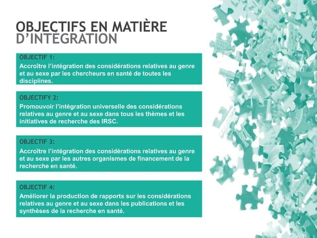 OBJECTIFS EN MATIÈRE D'INTÉGRATION OBJECTIF 1: Accroître l'intégration des considérations relatives au genre et au sexe pa...