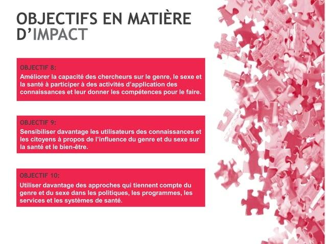 OBJECTIFS EN MATIÈRE D'IMPACT OBJECTIF 8: Améliorer la capacité des chercheurs sur le genre, le sexe et la santé à partici...