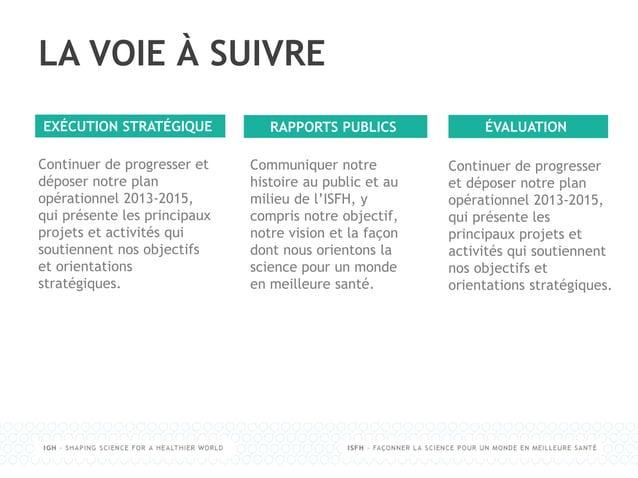LA VOIE À SUIVRE Continuer de progresser et déposer notre plan opérationnel 2013-2015, qui présente les principaux projets...
