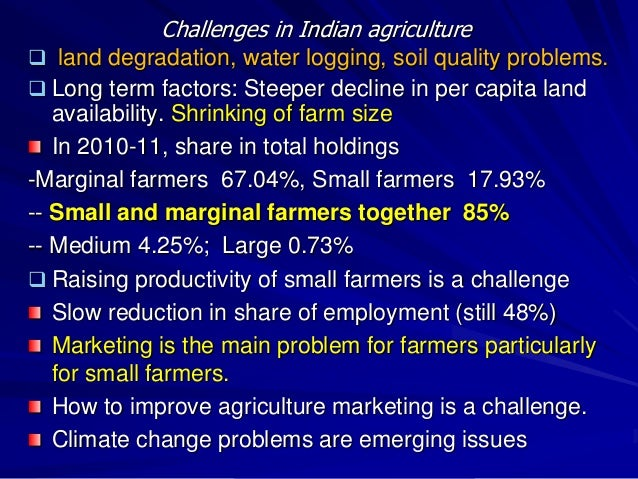indian agriculture challenges Huge challenges 26/05/2014  since independence from the british in 1947, agriculture has always been the major feature in economic policy making in india the reason is that agriculture provides employment to the largest number of people in india according to the 2011 census, more than 50 % of the population depended directly or indirectly.